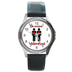 Be Mine Valentine Round Metal Watch by Valentinaart