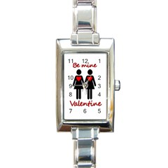 Be My Valentine 2 Rectangle Italian Charm Watch by Valentinaart
