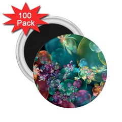 Butterflies, Bubbles, And Flowers 2 25  Magnets (100 Pack)  by WolfepawFractals