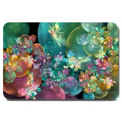 Butterflies, Bubbles, And Flowers Large Doormat  by WolfepawFractals