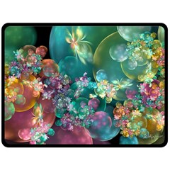 Butterflies, Bubbles, And Flowers Fleece Blanket (large)  by WolfepawFractals