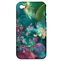 Butterflies, Bubbles, And Flowers Apple Iphone 4/4s Hardshell Case (pc+silicone) by WolfepawFractals