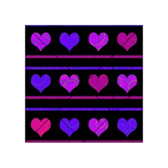Purple And Magenta Harts Pattern Acrylic Tangram Puzzle (4  X 4 ) by Valentinaart