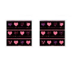 Pink elegant harts pattern Cufflinks (Square) by Valentinaart