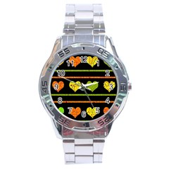 Colorful Harts Pattern Stainless Steel Analogue Watch by Valentinaart