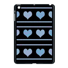 Blue Harts Pattern Apple Ipad Mini Case (black) by Valentinaart
