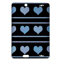Blue Harts Pattern Amazon Kindle Fire Hd (2013) Hardshell Case by Valentinaart