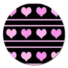 Pink Harts Pattern Magnet 5  (round) by Valentinaart