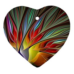 Fractal Bird Of Paradise Heart Ornament (two Sides) by WolfepawFractals