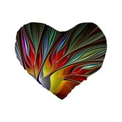 Fractal Bird Of Paradise Standard 16  Premium Flano Heart Shape Cushion  by WolfepawFractals