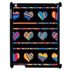 Colorful harts pattern Apple iPad 2 Case (Black)