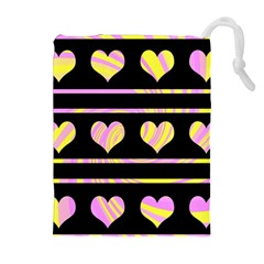 Pink and yellow harts pattern Drawstring Pouches (Extra Large) by Valentinaart