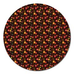 Exotic Colorful Flower Pattern Magnet 5  (Round) by Brittlevirginclothing