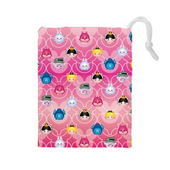 Alice In Wonderland Drawstring Pouches (large)  by reddyedesign