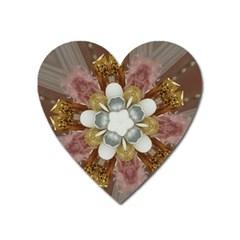 Elegant Antique Pink Kaleidoscope Flower Gold Chic Stylish Classic Design Heart Magnet by yoursparklingshop
