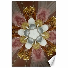 Elegant Antique Pink Kaleidoscope Flower Gold Chic Stylish Classic Design Canvas 24  X 36  by yoursparklingshop