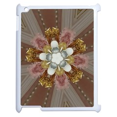 Elegant Antique Pink Kaleidoscope Flower Gold Chic Stylish Classic Design Apple Ipad 2 Case (white) by yoursparklingshop