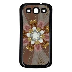 Elegant Antique Pink Kaleidoscope Flower Gold Chic Stylish Classic Design Samsung Galaxy S3 Back Case (black) by yoursparklingshop