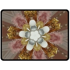 Elegant Antique Pink Kaleidoscope Flower Gold Chic Stylish Classic Design Double Sided Fleece Blanket (large)  by yoursparklingshop