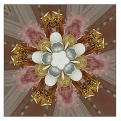 Elegant Antique Pink Kaleidoscope Flower Gold Chic Stylish Classic Design Large Satin Scarf (square) by yoursparklingshop