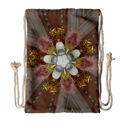 Elegant Antique Pink Kaleidoscope Flower Gold Chic Stylish Classic Design Drawstring Bag (large) by yoursparklingshop