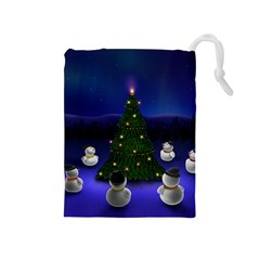 Waiting For The Xmas Christmas Drawstring Pouches (Medium)