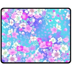 Colorful Pastel Flowers Double Sided Fleece Blanket (medium)  by Brittlevirginclothing