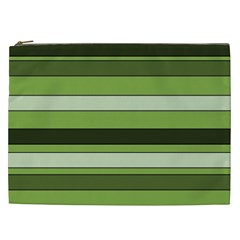 Greenery Stripes Pattern Horizontal Stripe Shades Of Spring Green Cosmetic Bag (xxl)  by yoursparklingshop