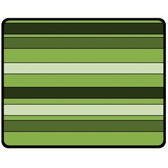 Greenery Stripes Pattern Horizontal Stripe Shades Of Spring Green Double Sided Fleece Blanket (medium)  by yoursparklingshop