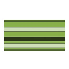 Greenery Stripes Pattern Horizontal Stripe Shades Of Spring Green Satin Wrap by yoursparklingshop