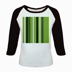 Greenery Stripes Pattern 8000 Vertical Stripe Shades Of Spring Green Color Kids Baseball Jerseys by yoursparklingshop