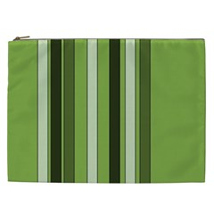 Greenery Stripes Pattern 8000 Vertical Stripe Shades Of Spring Green Color Cosmetic Bag (xxl)  by yoursparklingshop