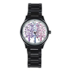 Magical Pastel Trees Stainless Steel Round Watch by Valentinaart