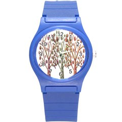 Magical Autumn Trees Round Plastic Sport Watch (s) by Valentinaart