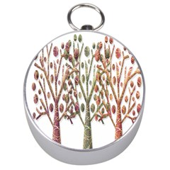 Magical Autumn Trees Silver Compasses by Valentinaart