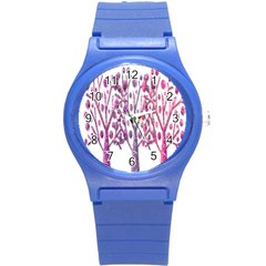 Magical Pink Trees Round Plastic Sport Watch (s) by Valentinaart
