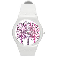 Magical Pink Trees Round Plastic Sport Watch (m) by Valentinaart