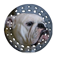 White Bulldog Round Filigree Ornament (2Side) by TailWags