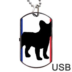 French Bulldog Silo France Flag Dog Tag USB Flash (Two Sides)  by TailWags