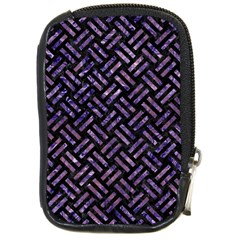 Woven2 Black Marble & Purple Marble Compact Camera Leather Case