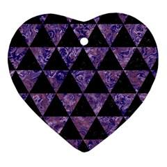 TRI3 BK-PR MARBLE Heart Ornament (2 Sides) by trendistuff