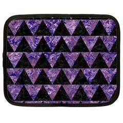 Triangle2 Black Marble & Purple Marble Netbook Case (large) by trendistuff