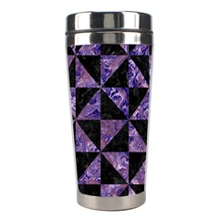 Triangle1 Black Marble & Purple Marble Stainless Steel Travel Tumbler by trendistuff