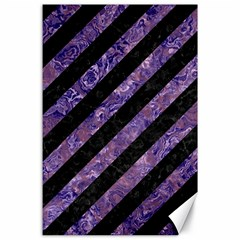 Stripes3 Black Marble & Purple Marble Canvas 24  X 36  by trendistuff