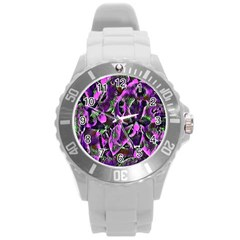 Floral  Fantasy, Pink Round Plastic Sport Watch (l) by MoreColorsinLife
