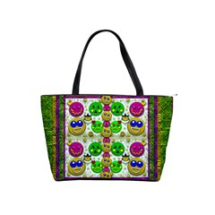 Smile And The Whole World Smiles With You Shoulder Handbags by pepitasart