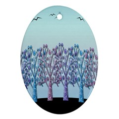 Blue Magical Hill Ornament (oval)  by Valentinaart