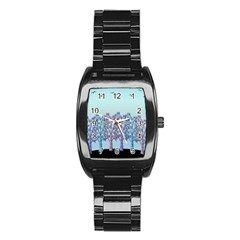 Blue Magical Hill Stainless Steel Barrel Watch by Valentinaart