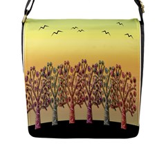 Magical Sunset Flap Messenger Bag (l)  by Valentinaart