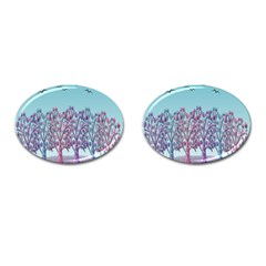 Blue Magical Landscape Cufflinks (oval) by Valentinaart